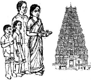 Image result for Parents and children before Hindu temple temple clipart